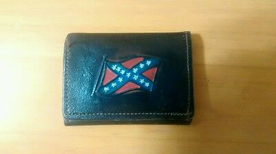 Confederate flag leather trifold wallet and sew on rebel flag patch