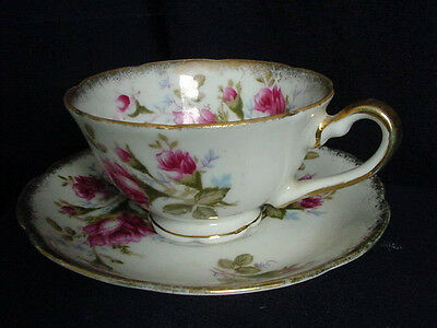Vintage English Crown China Co deep Maroon Rose Heavy Gold Teacup and Saucer