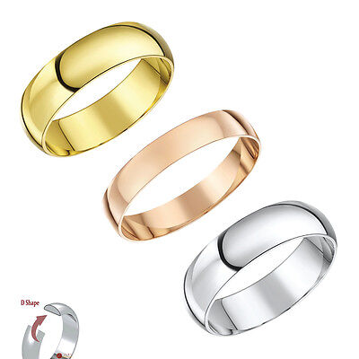 9ct Gold Wedding Ring Band D Shaped  9ct White Gold,Yellow Gold, or Rose Gold