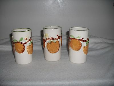 "3"" Vintage National Potteries Orange Juice Glasses Japan Cleveland OH"