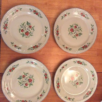 4 TABLETOPS UNLIMITED SUSANA PATTERN STRAWBERRY STONEWARE DINNER PLATES..