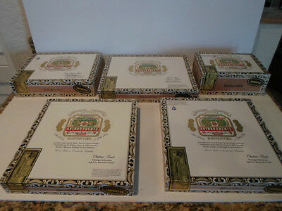 "LOT OF 5 ARTURO FUENTE ""EMPTY"" WOOD CIGAR BOXES   GOOD CONDITION"