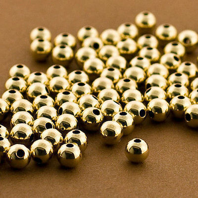 50 PCS Gold filled Beads, 6mm Round Beads, Seamless Gold fill Beads, 14k 14/20