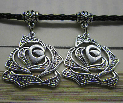 wholesale 6pcs Retro Style alloy Tibet silver The roses Charm Pendant 40x28mm