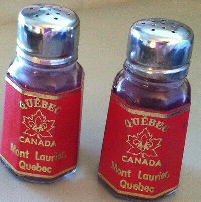 Retro Red and Gold Label Glass Salt and Pepper Shakers Set Quebec Canada