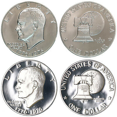 1976 S Eisenhower Dollar Type 1 & 2 Gem Deep Cameo CN-Clad Proof 2 Coin Set
