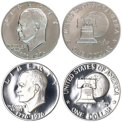 1976 S Eisenhower Dollar Type 1 & Type 2 Gem Deep Cameo CN-Clad Proof 2 Coins