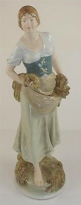 """Huge Royal Dux Figure Of Peasant Woman Gathering Wheat 21.5"""" Or 55Cm"""
