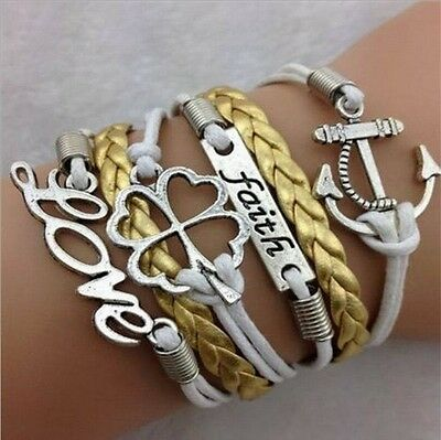 NEW Hot Infinity Love Anchor Leather Cute Charm Bracelet plated Silver  SL123D
