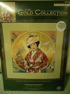 DIMENSIONS GOLD COLLECTION COUNTED CROSS STITCH KIT JAPANESE MAIDEN #35109