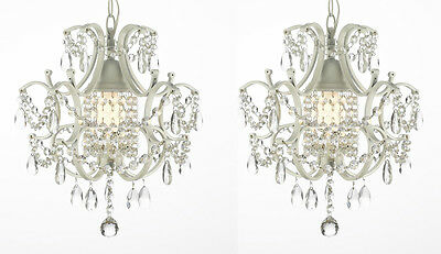 **SET OF 2** WROUGHT IRON CRYSTAL CHANDELIER LIGHTING COUNTRY FRENCH WHITE