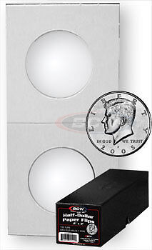 500 BCW Crystal Clear Coin Holders Paper Flips Half Dollar Boxed Window 30.6mm