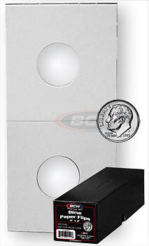 500 BCW Crystal Clear Coin Holders 2x2 Paper Flips Dime Boxed Wndw 17.9mm