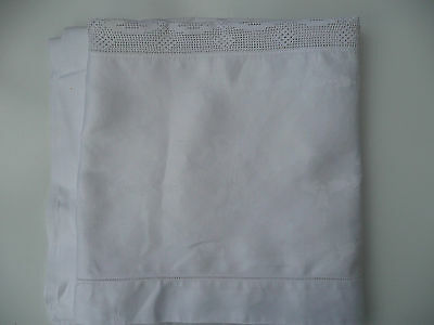 "VINTAGE HANDMADE & CROCHETED SATEEN COTTON DAMASK TABLECLOTH  52"" square"