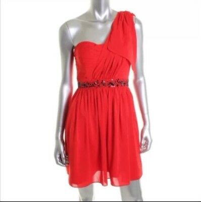 JESSICA SIMPSON Red Beaded One Shoulder Party Cocktail Dress 8