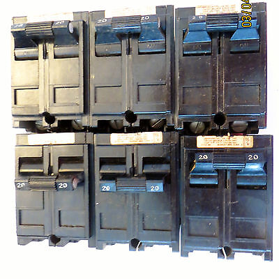 6  CIRCUIT BREAKERS  MURRAY  DOUBLE POLE  LOT OF 6 USED 20 amp