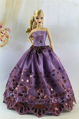 Purple Fashion Party Dress/Wedding Clothes/Gown For Barbie Doll S183P2