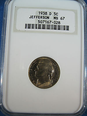 1938-D  JEFFERSON 5c NGC MINT STATE 67 A KEY DATE