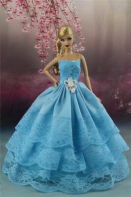 Blue Fashion Party Dress/Wedding Clothes/Gown For Barbie Doll S188P4