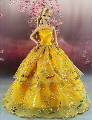 Yellow Fashion Party Dress/Wedding Clothes/Gown For Barbie Doll S181P5
