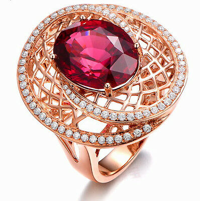 Solid 14K Rose Gold Genuine 5.01ct Blood Ruby Engagement Natural Diamond Ring