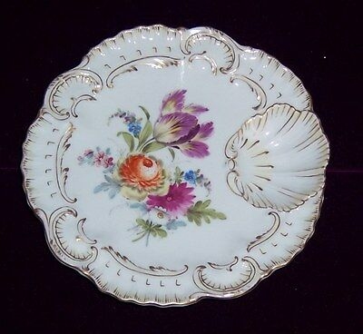 Vintage Dresden Porcelain Shell Plate Hand Painted Flowers Circa 1900