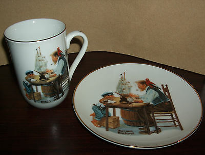 "NORMAN ROCKWELL COLLECTOR PLATE SET: ""A GOOD BOY"" plate and mug"