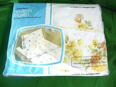 Vintage JC Penneys Fashion Manor Bed Sheet Flat Double Yellow White Eyelet New