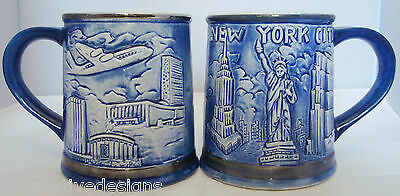 2 NY New York City 3D Blue Mug Statue of Liberty Twin Towers Vtg Japan 16 oz Cup