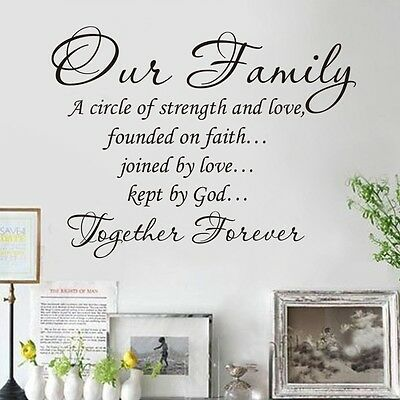 DIY Vinyl Quote Our Family Together Forever Wall Decal  Words Sticker Home Decor