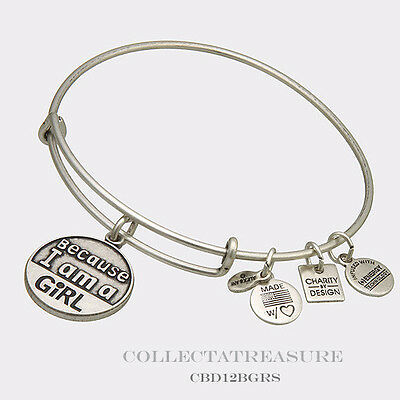 Authentic Alex and Ani Because I Am A Girl  Russian Silver Charm Bangle CBD