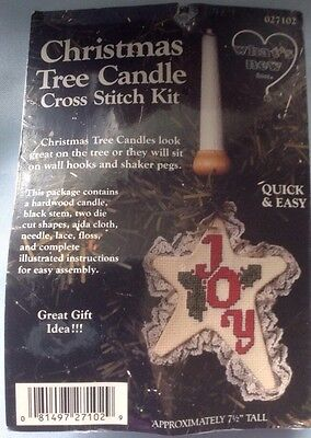 What's New Counted Cross Stitch Kit Xmas Tree Joy Candle Ornament FREE SHIP  NEW