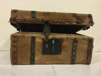 Antique 1800s Deer Hide Leather Primitive Hand Carriage Trunk Chest Document Box