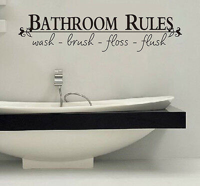 Bathroom Rules English Quote Window Car Sticker Vinyl Wall Art Decals Home Decor