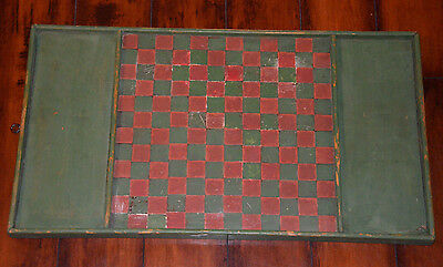 Vintage Antique Hand Painted INLAID Wooden Checker Game Board 28x15.5 GREEN RED