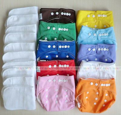 10 pcs One Size Baby Cloth diapers TPU Cover Nappies & 10 pcs liner inserts CH01