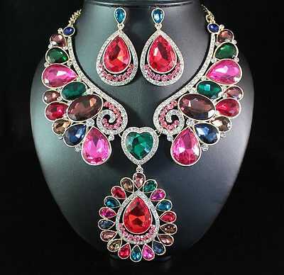 LG VEGAS MULTI AUSTRIAN RHINESTONE CRYSTAL NECKLACE EARRINGS SET PARTY N1732