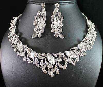 STYLISH CLEAR AUSTRIAN RHINESTONE CRYSTAL NECKLACE EARRINGS SET WED BRIDAL N1769