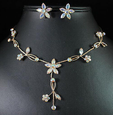 DAISIES AUSTRIAN RHINESTONE CRYSTAL NECKLACE EARRINGS SET BRIDAL WED N071 GOLD
