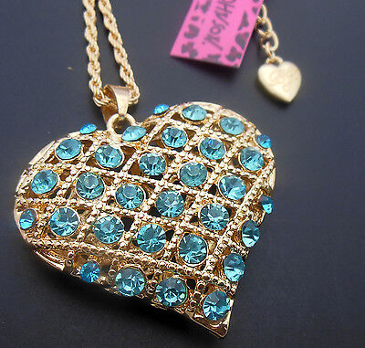 Betsey Johnson New  pretty nice sparkling crystal heart necklace N237Lan
