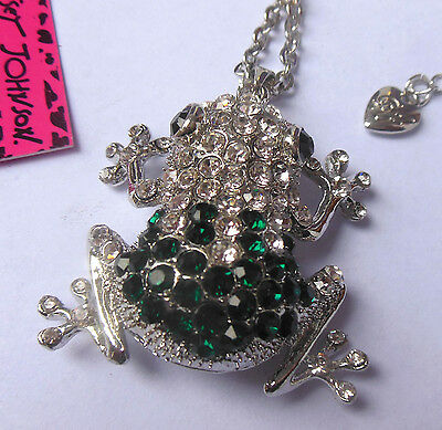 Betsey Johnson shiny blue crystal / silver pendant necklace cute frog # N343