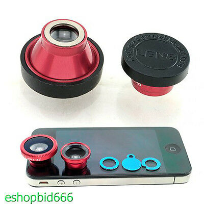 Sale Universal 3in1 Fisheye + Wide Angle + Macro Lens Kit For IPhone Samsungs A+