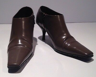 Designer PRADA Taupe Patent Leather Stiletto Ankle Boot Italy-made  6.5