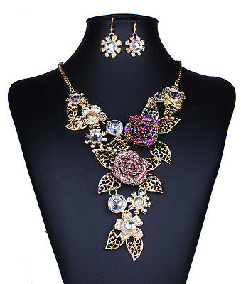 Betsey Johnson Alloy hollow out pattern crystal flowers necklace earrings a N244