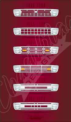 60s Ford Pickup Grill F100 M100 Unibody Slick Short Bed Poster Gloss Hot Rat Rod