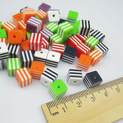NEW  Charm 50PCS 8MM Square beads for Craft jewelry making mix color 2 holes R8