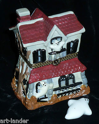 Spooky Haunted House Porcelain Hinged Trinket Box with Ghost Inside
