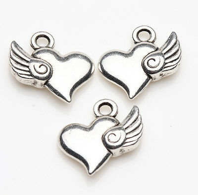 10pcs Tibet Silver Wing Heart Spacer Bead Charm Pendants Jewelry Finding 15X11MM