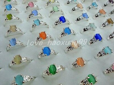 Wholesale lots 20pcs colourful natural Cat eye gemstone silver plated rings FREE