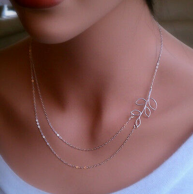 New Fashion short double Chain leaves pendant Charm Silver Plated necklace Gift